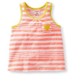 Carter's Stripe Tank Toddler Girls - Coral/yellow - Toddlers