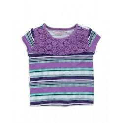 Design History Lace Top Striped Tee - Girls