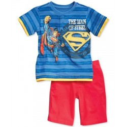 Little Boys' 2-Piece Superman Henley & Shorts