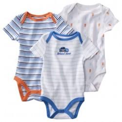 Circo Alaskan Blue Newborn Boy Bodysuits- 3 pack- 6-9 months