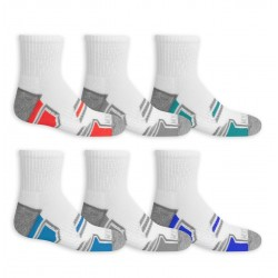 Fruit of the Loom Boys' Active Cushioned Ankle Socks, 6 Pack- WHITE