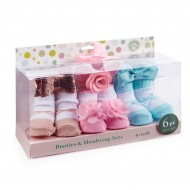 Little Me 3 Pairs Girls Booties & Headwraps