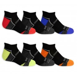 Fruit of the Loom Boys' Active Cushioned Low Cut Socks, 6 Pack- BLACK