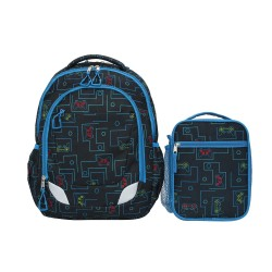 Crckt Youth 2 Piece Backpack set with Matching Lunch Kit (Assorted Colors) - Gamer