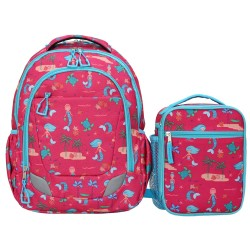 Crckt Youth 2 Piece Backpack set with Matching Lunch Kit (Assorted Colors) - Mermaid