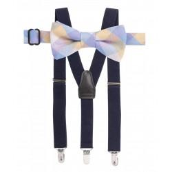 Boys Teddy Check Bow Tie Suspender Set - Big Boys (8+ years )