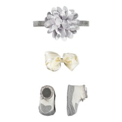 Little Me Baby Girl 3 Piece Satin Silver Hair & Bootie Set