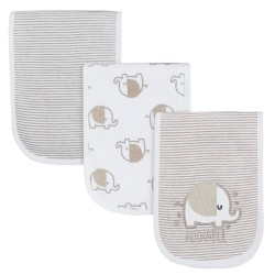 Gerber 3-Pack Neutral Grey Elephant Dribbler Bibs