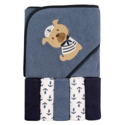 Luvable Friends Boy Hooded Towel with Washcloths, 6-Piece Set, Bear