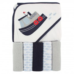 Luvable Friends Boy Hooded Towel with Washcloths, 6-Piece Set, Boat