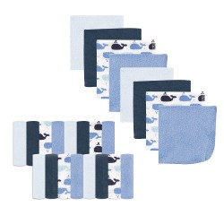Luvable Friends Baby Boy  Washcloths, 24-Pack, Whale