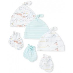 Unisex Baby Doodle Animals Knotted Hat And Mittens 6-Piece Set