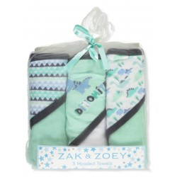 Zak & Zoey Baby Boys' 3-Pack Hooded Towels Dino Blue