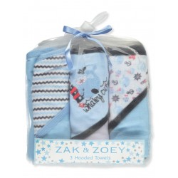 Zak & Zoey Baby Boys' 3-Pack Hooded Towels Whale Blue