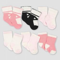 Gerber Baby Girls' 6pk Ballerina Jersey Wiggle Proof Socks - Pink 0-6M
