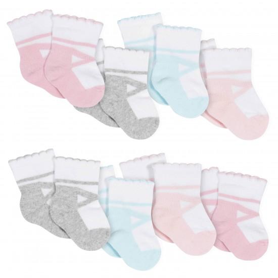 Gerber 8-Pack Girls Ballet Slipper Jersey Crew Socks
