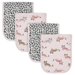 Gerber 4-Pack Girls Leopard Terry Burp Cloths