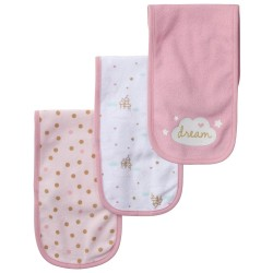 Gerber 3-Pack Girls Princess Castle Terry Burp Cloths