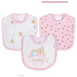 Gerber 3-Pack Girls Princess Castle Terry Bibs
