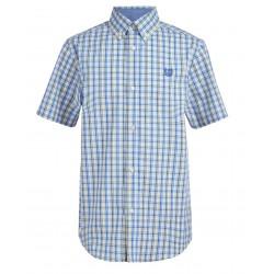 Chaps  Short Sleeve Double Pick Plaid Woven Shirt - Blue/Yellow