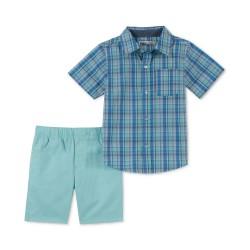Kids Headquarters  Little Boys Plaid Shirt & Twill Shorts Set