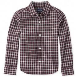 Boys Plaid Poplin Shirt by CP- Redwood