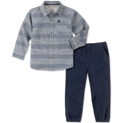 Calvin Klein Jeans Little Boys 2-Pc. Tonal Stripe Shirt &  Jogger Pants Set