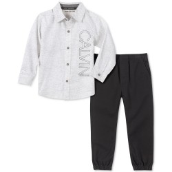 Calvin Klein Jeans Little Boys 2-Pc. Textured Stripe Logo Shirt &  Jogger Pants Set