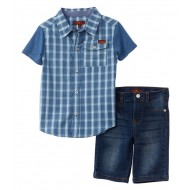 7 For All Mankind 2pc Woven Shirt & Short Set