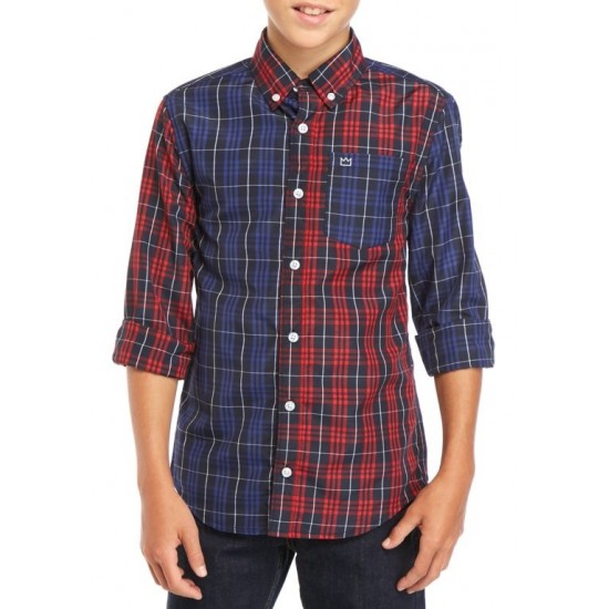 Boys  Long Sleeve Patchwork Woven Shirt by Crown & Ivy