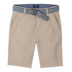 Chaps Stretch Twill Shorts with Belt - Big Boys - Brown