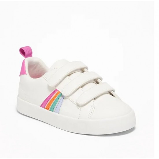 Triple-Strap Rainbow-Stripe Sneakers For Toddler Girls by Old Navy