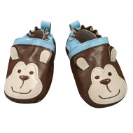 Cuddle Bear Baby Boys' Brown Monkey Faux Leather Prewalker Slip-on