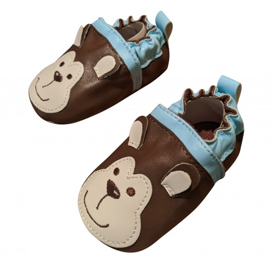 Cuddle Bear Baby Boys' Brown Monkey Faux Leather Prewalker Slip-on