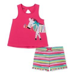 Kids Headquarters  Toddler Girls Zebra Tank Top & Striped Shorts Set