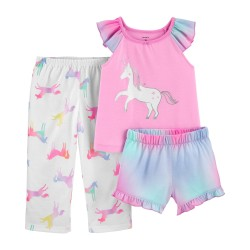Carter's 3 Piece Glitter Unicorn Pajama Set  - Toddlers