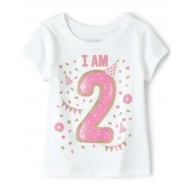 Toddler Girls Birthday Glitter I Am 2 Graphic Tee by CP