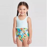 Toddler Girls' Floral Seersucker Empire Ruffle One Piece Swimsuit - Cat & Jack
