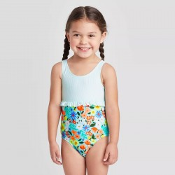 Toddler Girls' Floral Seersucker Empire Ruffle One Piece Swimsuit - Cat & Jack