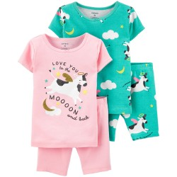 Carter's 4-Piece 100% Snug Fit Cotton PJs - Moon & Back - Toddler Girls