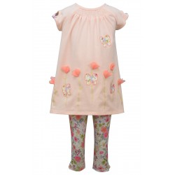 Bonnie Jean Toddler Girls 2T-4T Butterfly/Flower Tunic Top & Floral Leggings Set