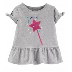 Carter's Toddler Girls Peplum Glitter Wand Graphic Top