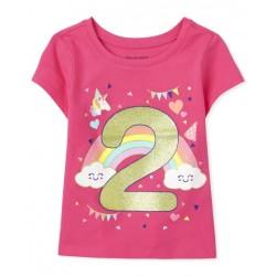 Toddler Girls Birthday 2 Graphic Tee