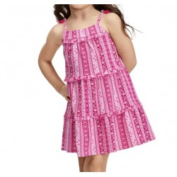 Toddler Girls Floral Striped Tiered Dress