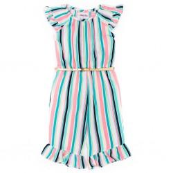 Little Lass  Girl's Belted Stripe Ruffle Jumpsuit