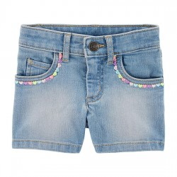 Carter's Embroidered Heart Denim Shorts - Toddlers