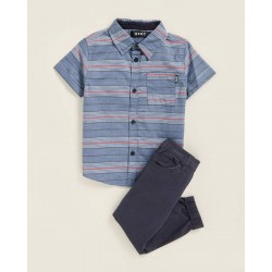 DKNY  Short Sleeve Striped Shirt & Twill Joggers Set  (Toddler Boys) - Blue