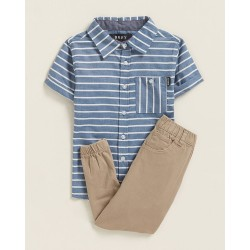 DKNY  Short Sleeve Striped Shirt & Twill Joggers Set  (Toddler Boys)