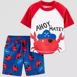 Carter's JOY Toddler Boys' Crab Swim Rash Guard Set