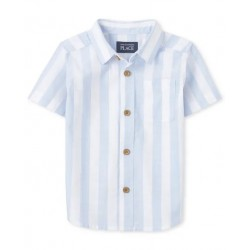Baby And Toddler Boys Striped Chambray Button Down Shirt by CP